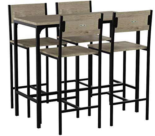 sobuy ogt14 set de 1 table 4 chaises ensemble table de bar 4 tabourets de bar avec repose pieds table mange debout table haute cuisine