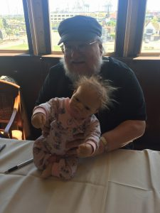 George RR Martin with sinister baby
