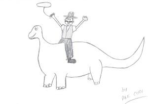 cowboy on dinosaur