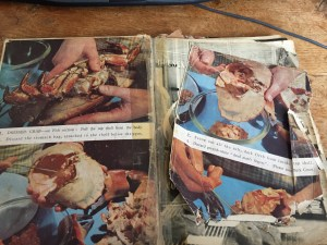 Badly damaged Good Housekeeping cookery book inside