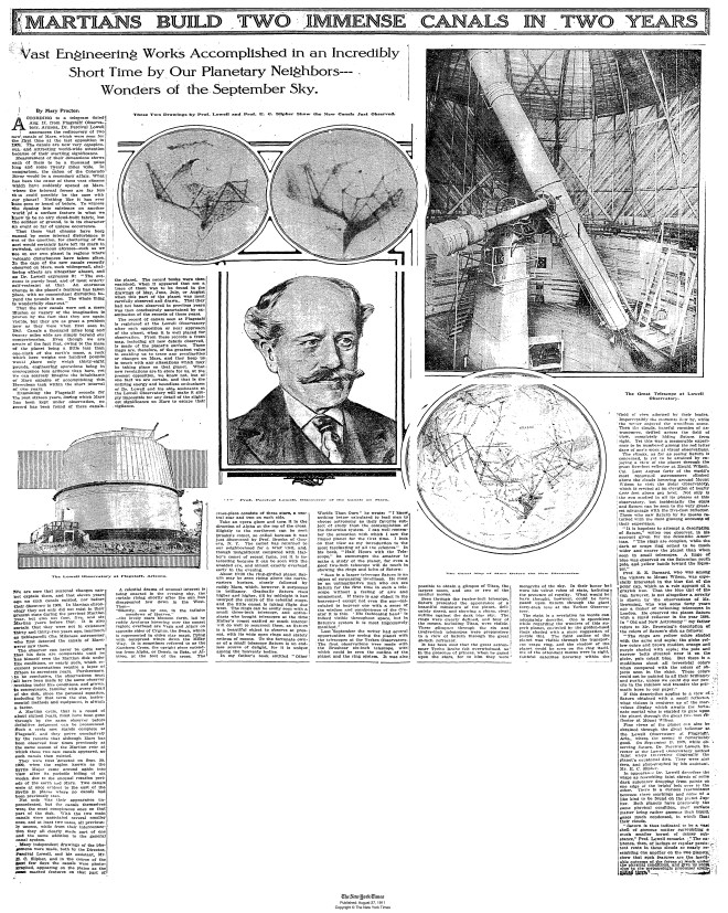 Lowell announces latest discovery of canals on Mars. New York Times, August 27, 1911.