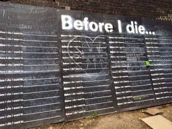 """Found a 'before I die' wall, my favourite was to """"alien proof my coffin (they're not getting my corpse)"""", that's genius & bonus points for spelling 'they're' correctly"""