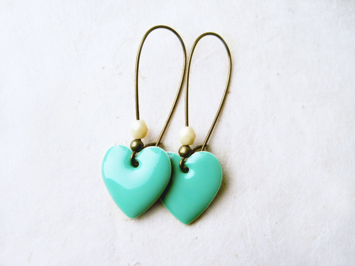 Mint Green Heart Earrings With Cream Crystal
