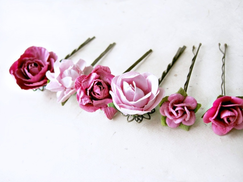 Magenta And Pink Floral Paper Hair Pins