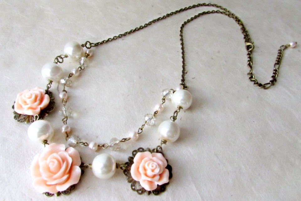 Double Strand Flower Bib Necklace With Peach Roses Pearls