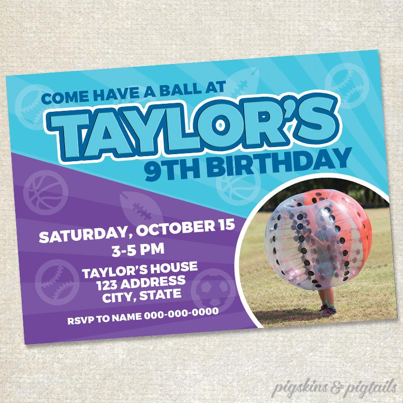 girl sports birthday party invitation