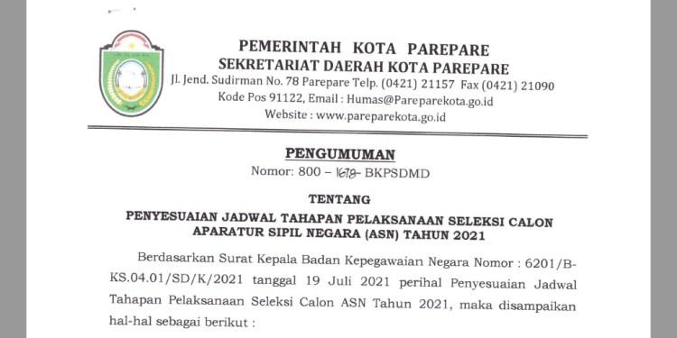 BKPSDMD Parepare Umumkan Tahapan Pelaksanaan Seleksi CASN 2021