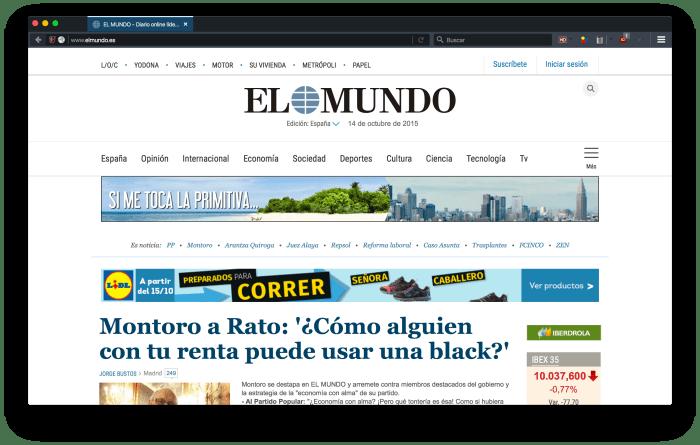 """Portada el Mundo, """"limpia"""""""