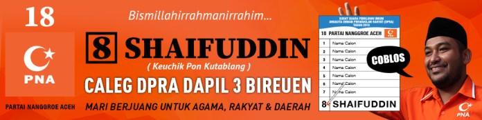 Iklan PNA pilih Shaifuddin dapil 3 Bireuen