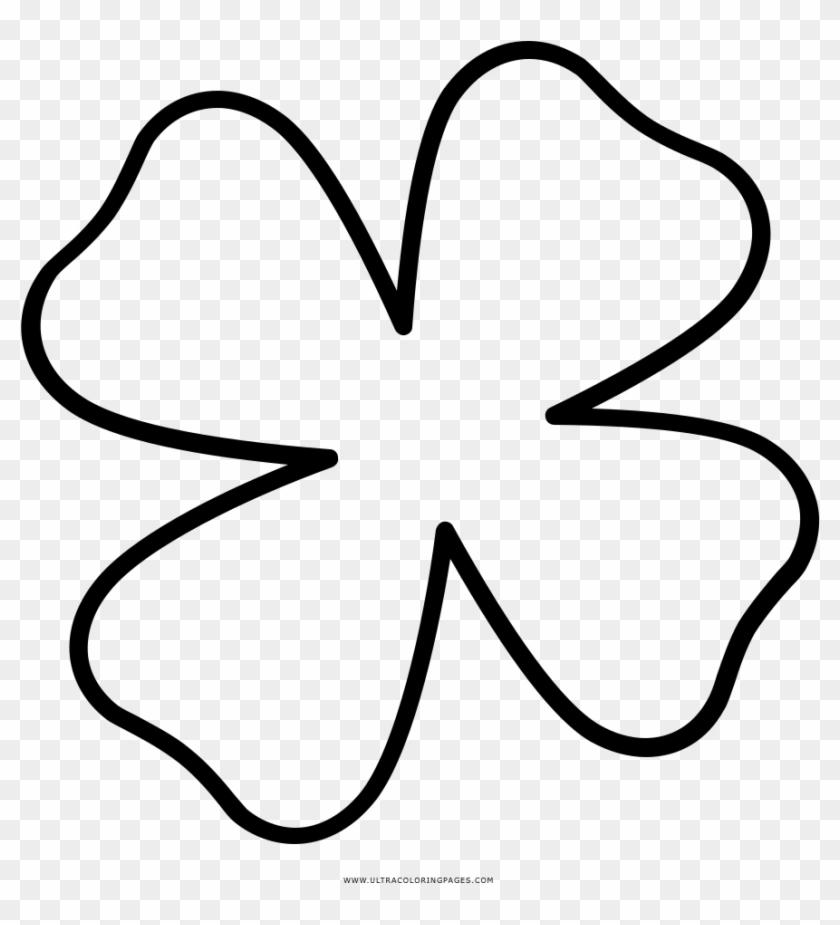 Four Leaf Clover Coloring Page Flor Trebol Para Colorear Clipart 1800865 Pikpng