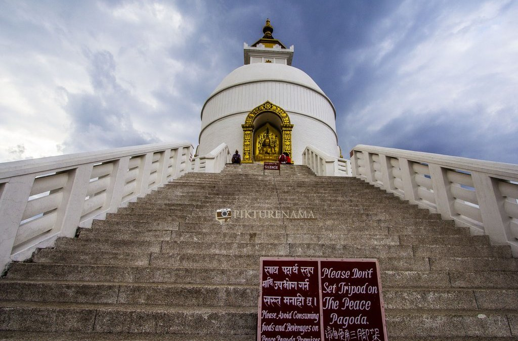 World peace pagoda Pokhara – 1100 metres, 200 stairs with a 2 year old