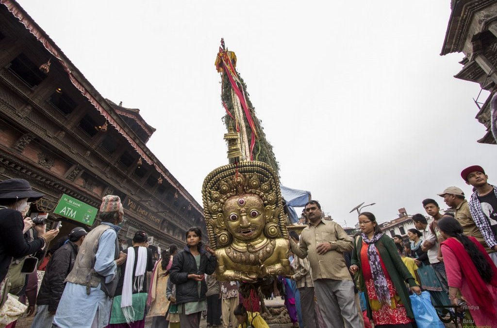 The chariot at Rato Machhendranath festival in Kathmandu Nepal . Pictures by pikturenama