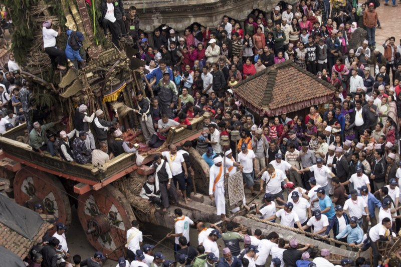 Chariot ready to move at Rato Machhendranath festival in Kathmandu Nepal . Pictures by pikturenama