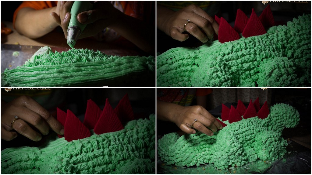 Stages of inserting the scales in Dinosaur Cake by pikturenama