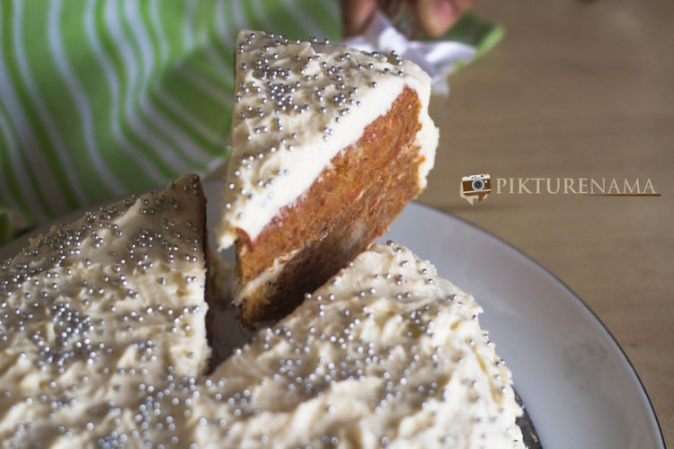 The slice of Carrot Cake with cheesy creamy frosting