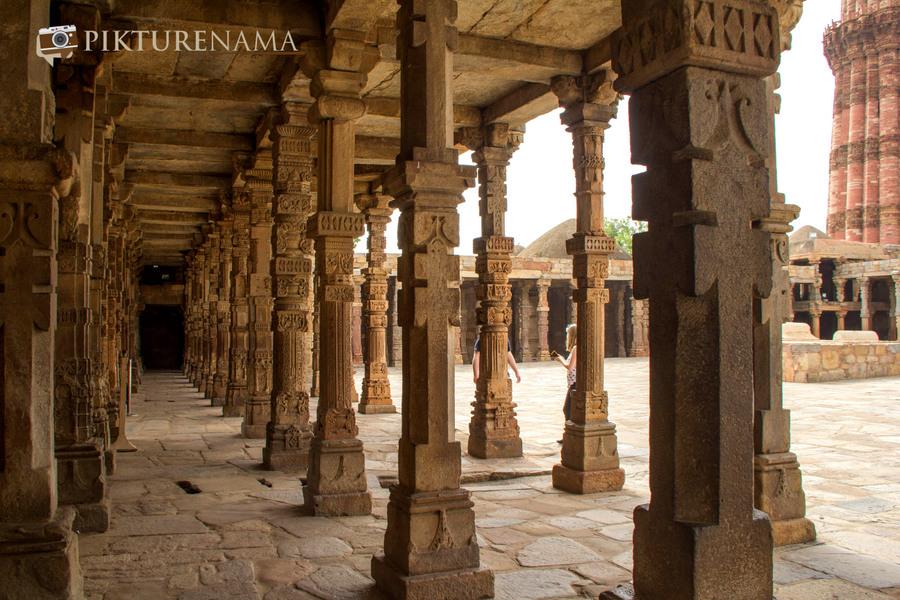 Qutub Minar and Qutub complex temple pillar remains