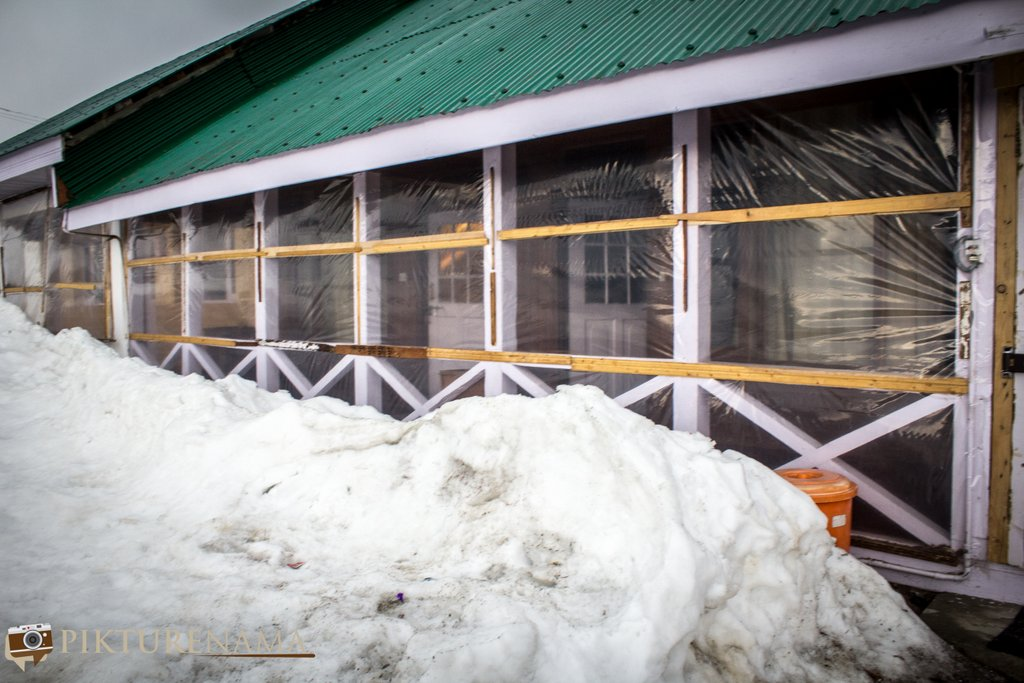 Nedous Hotel Gulmarg Kashmir snow in front of the room
