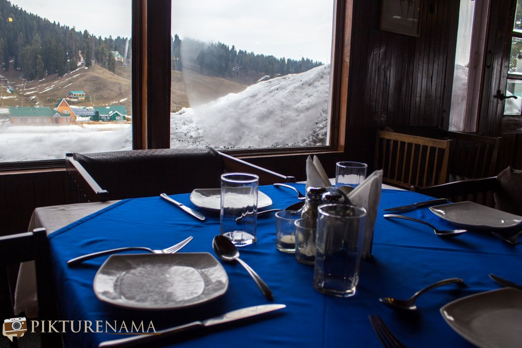 Nedous Hotel Gulmarg Kashmir 130 year old view outsdie the dining room