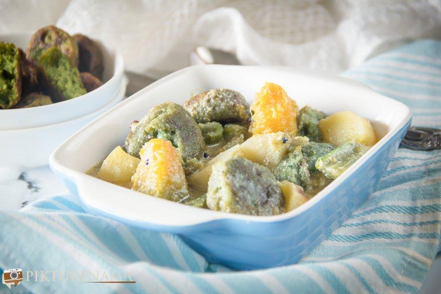 Kolmi Shaker Bora Shukto- Bengali style vegetable stew with Kolmi greens dumplings