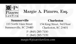 Business Card Design for Pizarro Law Firm