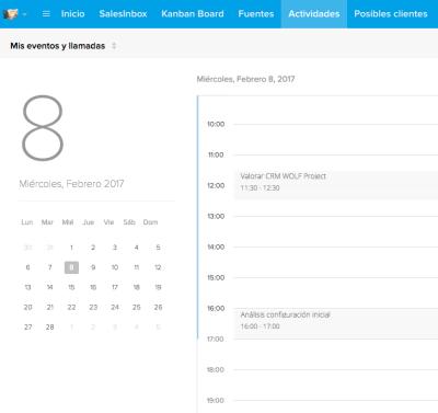 vista calendario ZOHO CRM día