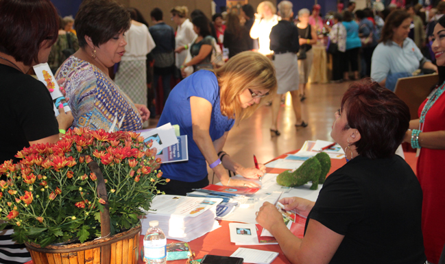 Women browse exhibitors at the Catholic Women's Conference in San Antonio