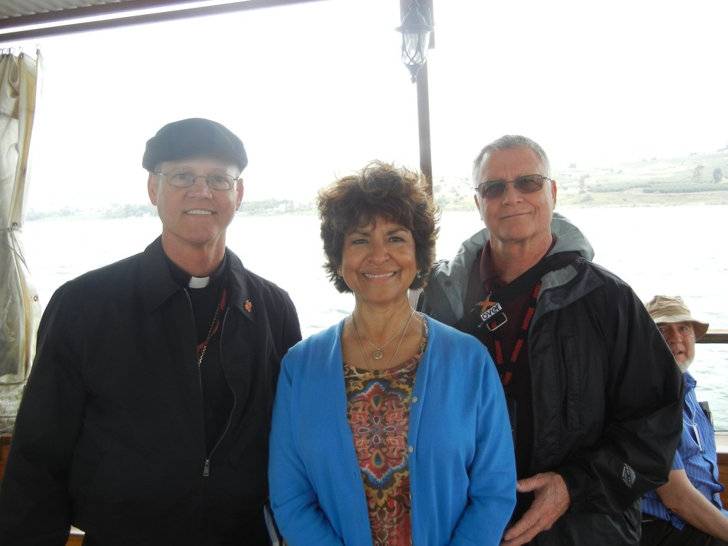 Bishop Paul D. Etienne with Mary Jane and Deacon Tom Fox in the Holy Land