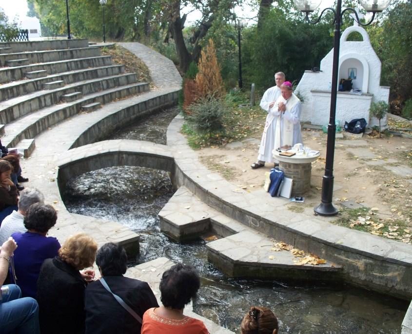 Bishop Patrick Zurek celebrates Mass at the site where Paul baptized Lydia