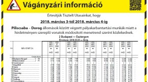 Hétvégén pályakarbantartás a Piliscsaba és Dorog közötti vasútvonalon