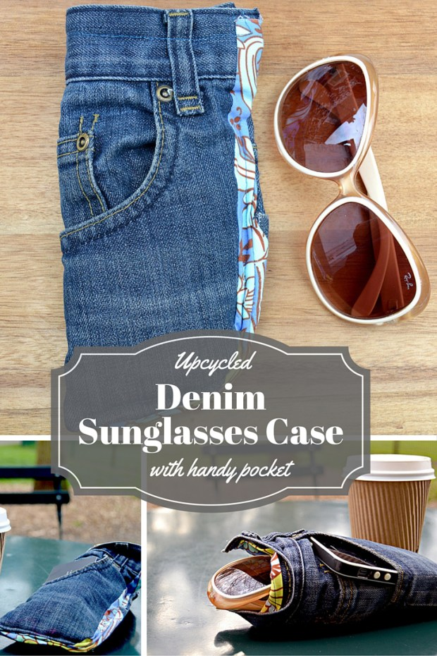 Here are some clever eyeglasses craft ideas. Upcycled jeans pocket into a sunglasses case.