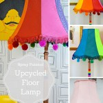 Colourful Spray Painted Upcycled Floor Lamp Pillar Box Blue