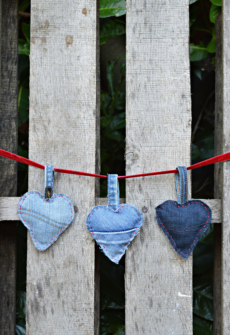 upcycled denim heart garland for Valentine's day