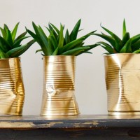 How to Make Gold Crushed Can DIY Planters