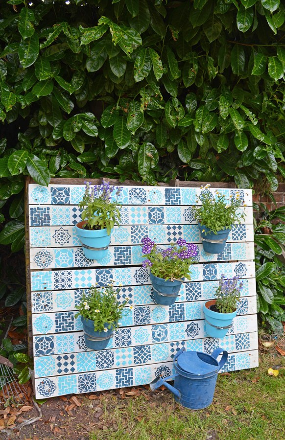 Painted Wood Pallet Garden by Pillar Box Blue