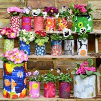 Easy Upcycled Marimekko Decorative Tin Can Planters
