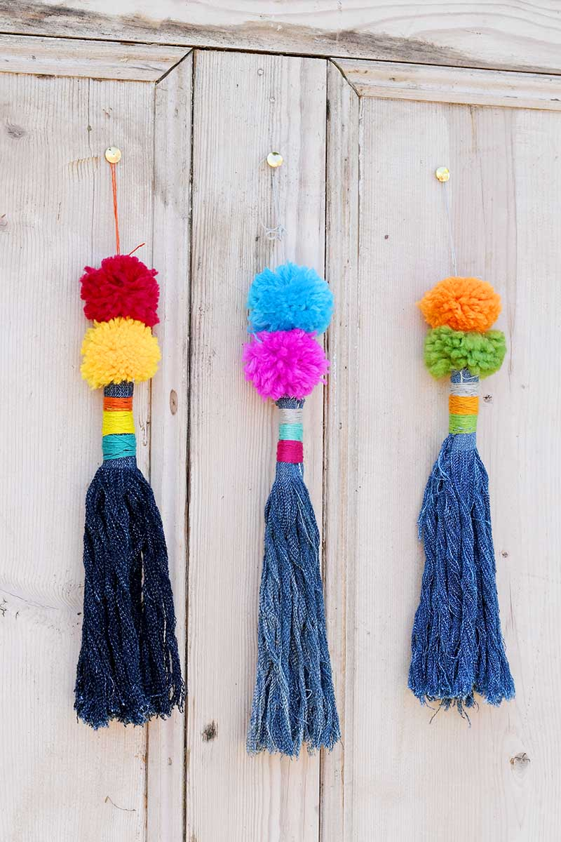 Sewing tutorial: Gorgeous tassels from denim scraps
