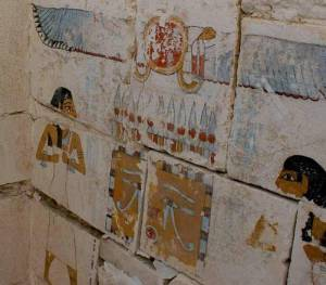 Drawings on the walls of Senebkay tomb at Abydos, Egypt