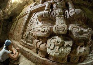 Particolare del fregio Maya ritrovato in Guatemala