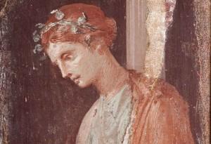 Viso di donna romana (affresco di Pompei)
