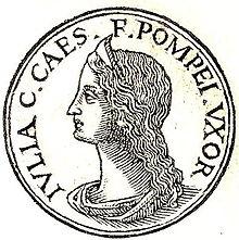 Moneta raffigurante Giulia, figlia di Giulio Cesare