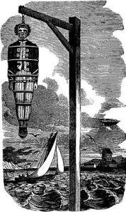 Il corpo di William Kidd (1645-1701) appeso sulla riva del Tamigi dopo l'impiccagine