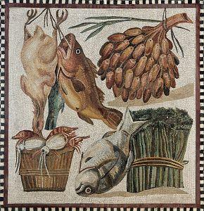 """Alcuni prodotti tipici della cucina romana. L'orzo era alla base della """"ptisana"""""""