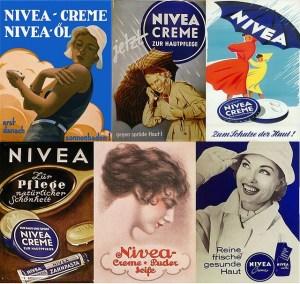 Vecchie pubblicità della crema per le mani Nivea