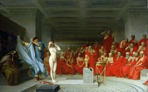 Phryne stands naked before the judges, Jean-Leon Gerome, 1861
