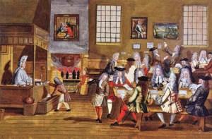 Interno del primo Coffee House a Boston, Inghilterra, 1689 (Anonimo)