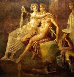 Antichi romani in atteggiamento intimo (da un affresco)