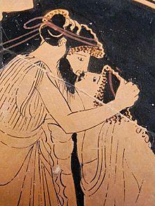 Un bacio tra uomini nell'Antica Grecia. Nella società greca il corteggiamento riguardava esclusivamente il sesso maschile