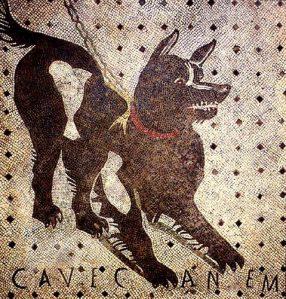 """Il mosaico con la scritta """"cave canem"""" all'interno della Casa del Poeta Tragico (Pompei)"""