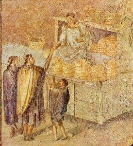 Panaderos y el pan en un fresco en Pompeya