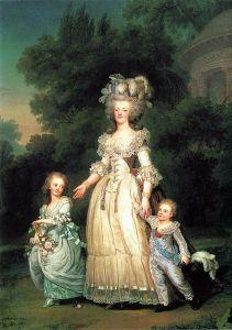 Marie Antoinette com seus filhos Carlotta Maria Teresa e Louis Joseph (1785)